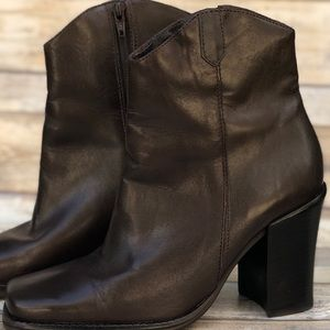 KF LTD Shoes - KF LTD Brown Leather Square Toe Ankle Boots